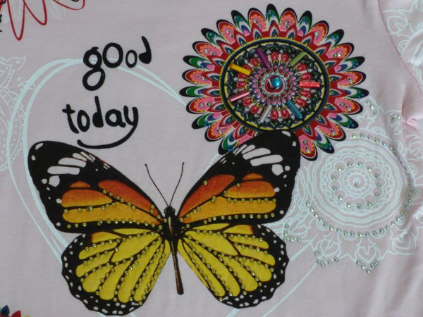 Dívčí tričko - Motýl a květy - růžové