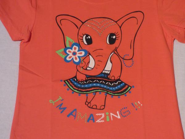 Dívčí tričko se slonem - červené
