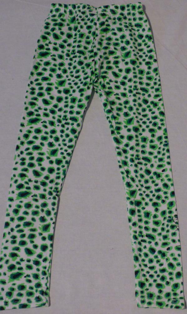 Dívčí legíny s gepardím vzorem - bílo-zelené