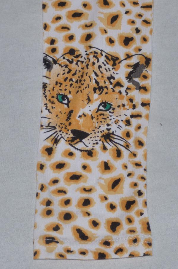 Dívčí legíny s gepardím vzorem - bílo-oranžové