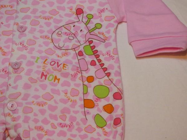 Dívčí a chlapecký overal - s žirafkou - růžový