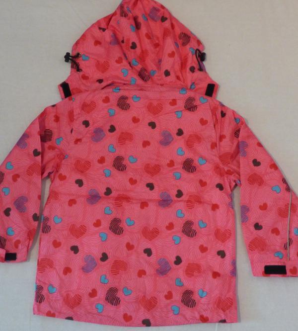 Dívčí šusťáková bunda - růžová se srdíčkama