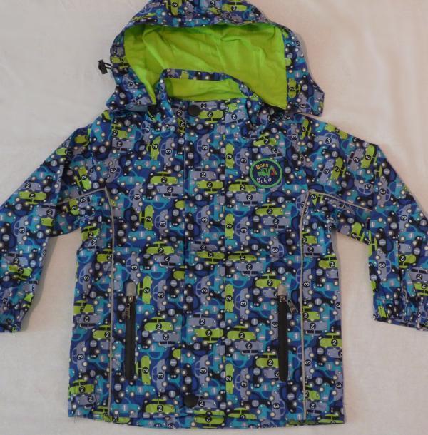Chlapecká šusťáková bunda - modrá s autíčkama