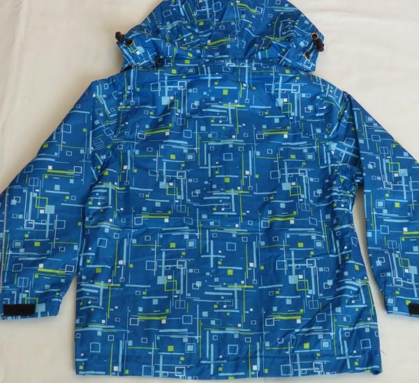 Chlapecká šusťáková bunda - modrá, zel. čárky