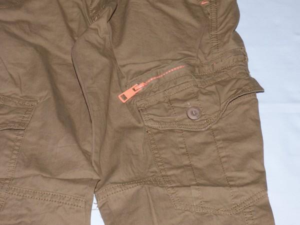 Chlapecké kalhoty - plátěné,hnědé,oranž. zip