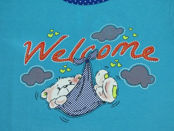 Dívčí pyžamo - s medvídkem v šátku, modré