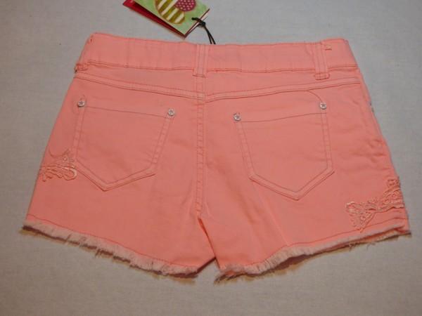 Dívčí šortky - s krajkou, růžovo-oranžová