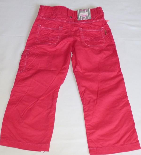 Dívčí kalhoty - plátěné,růžovo-červené