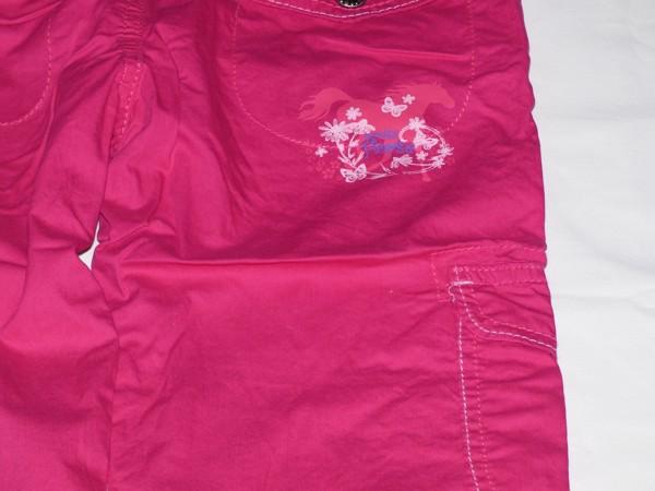 Dívčí kalhoty - plátěné,tm.růžové