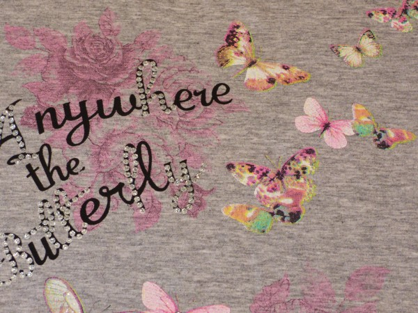 Dívčí tričko - s motýlky,šedé