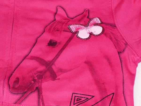 Dívčí mikina - s koněm,růžová se zeleným lemem
