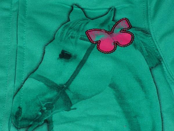 Dívčí mikina - s koněm,zelená s růžovým lemem