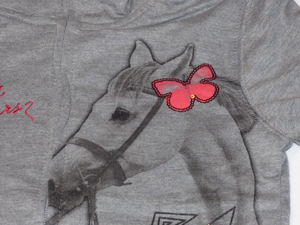 Dívčí mikina - s koněm,šedá s růžovým lemem