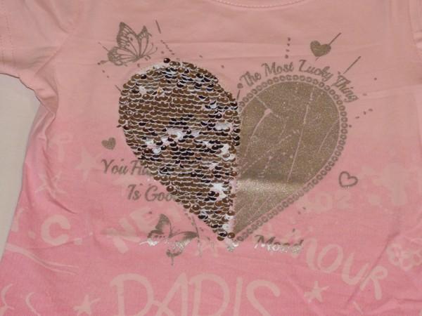 Dívčí tričko - Srdce s flitry, růžové