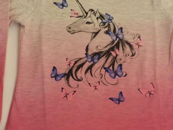 Dívčí tričko s jednorožcem, dl.r. - šedé, růžový l