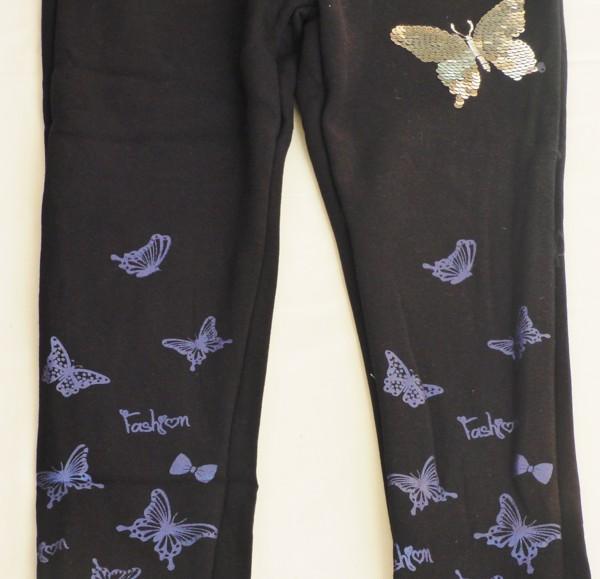 Teplé legíny s motýlem - černé