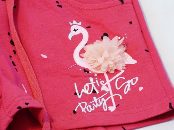 Dívčí šortky s plameňákem - růžové
