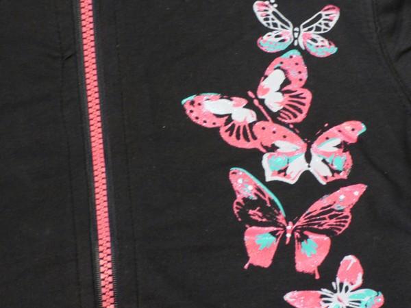 Dívčí mikina - motýli - černá