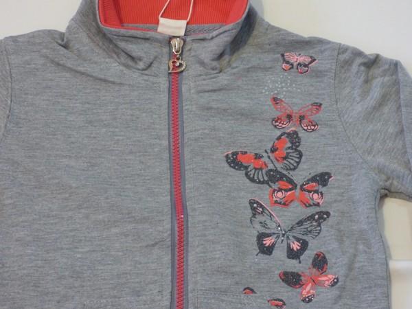 Dívčí mikina - motýli - šedá