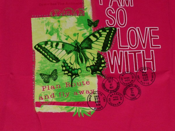 Dívčí tílko - Motýl, tmavě růžové