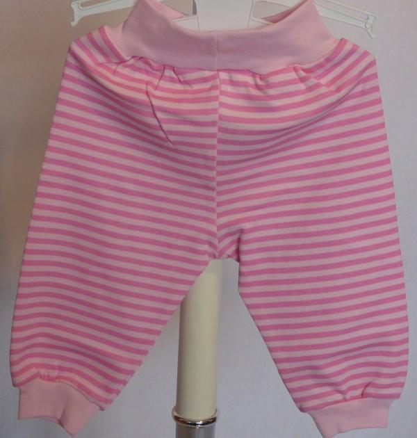 Tepláky kojenecké - růžové, pruhované
