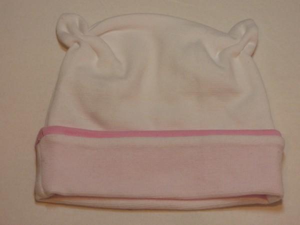 Dívčí kojenecká čepička s růžky - bílá, růžový pro