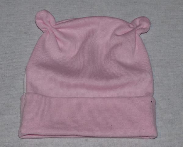 Dívčí kojenecká čepička s růžky - růžová, bílý pru