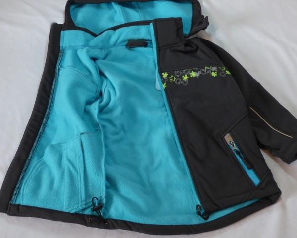 Chlapecká softshelová bunda - s flaušem, antracito