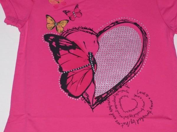 Dívčí tričko - srdce, motýl - tm.růžové
