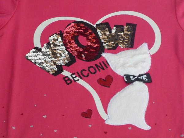 Dívčí tričko s kočkou, dl.r. - tm.růžové
