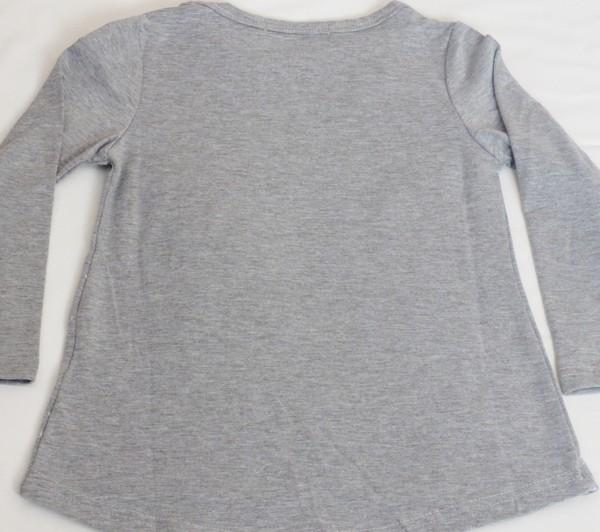 Dívčí tričko s kočkou, dl.r. - šedé
