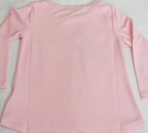 Dívčí tričko s kočkou, dl.r. - sv.růžové