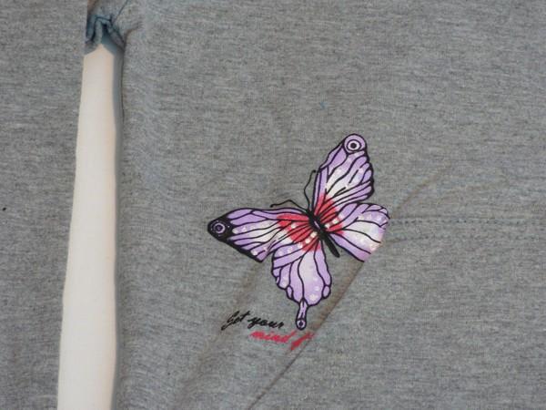 Dívčí mikina - Srdce a motýl, šedá