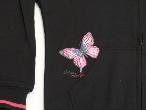 Dívčí mikina - Srdce a motýl, černá