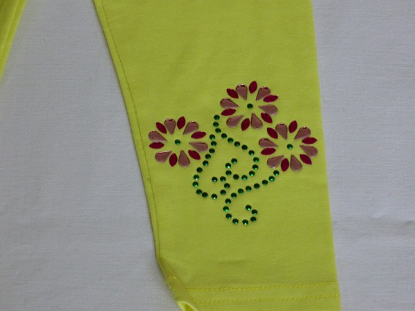 Legíny - s kytkami a ornamenty, žluté