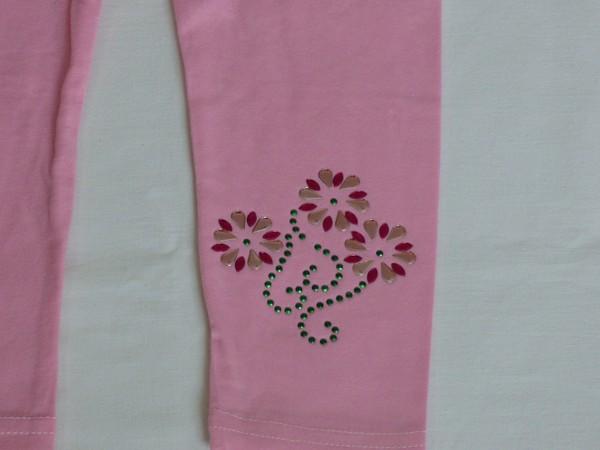 Legíny - s kytkami a ornamenty, růžové